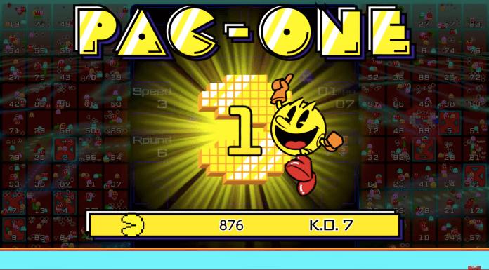 Tela novo jogo Pac-Man 99 onde mostra o vencedor entitulado como
