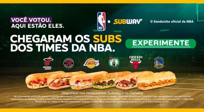 Foto de divulgação dos sanduíches da NBA da Subway.