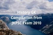 History GK Compilation from JKPSC Exam 2010