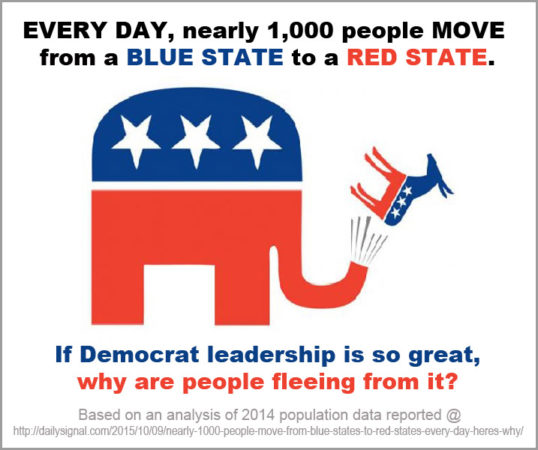 Democrats Fleeing Blue States and Infecting Red States With Their Failed Liberal Disease