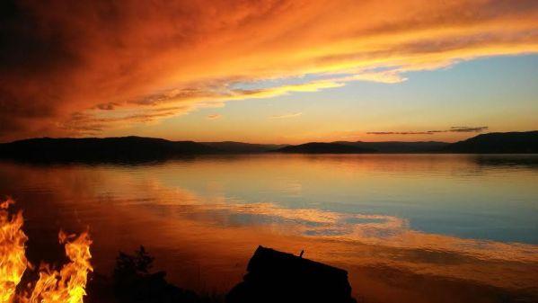 Campfire on Flathead Lake
