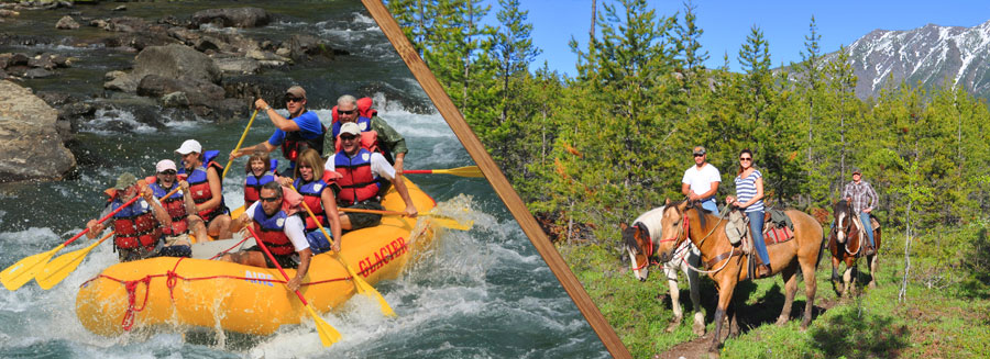 horseback riding in glacier national park, flathead river rafting