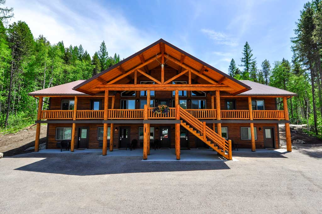 An exterior view of west glacier lodge. The newest glacier national park lodging in west glacier montana.