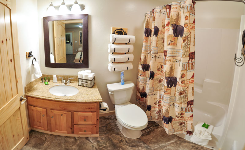 A wide angle shot of our the bathroom in west glacier lodge.