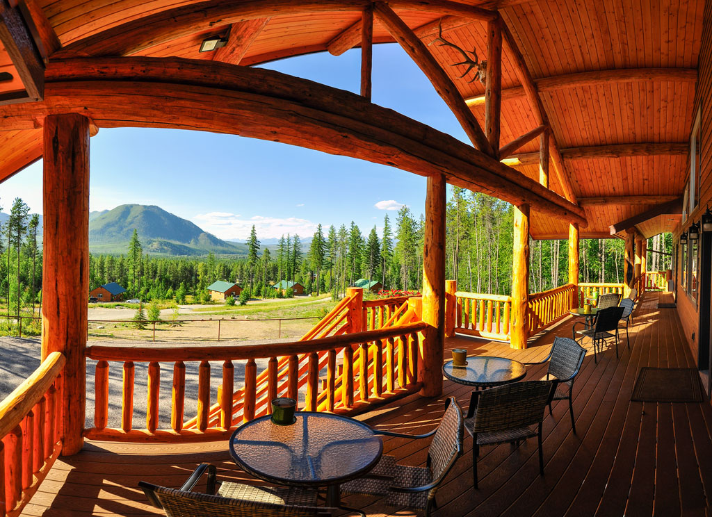 The best view of Glacier National Park's west entrance right from the porch on our west glacier lodging accommodations. The porch has all you need for a great evening after your rafting adventures.