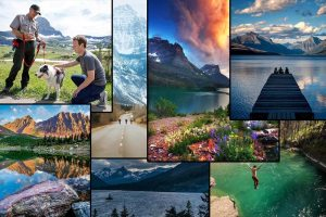 A collage of Glacier Parks top images on Instagram,