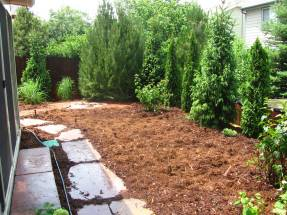 Evergreen Privacy With Walkway and Bistro Patio