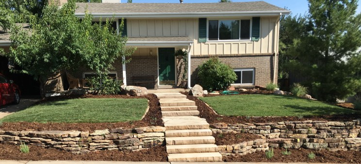 CO buff slab stairs with moss rock dry stack retaining walls planted with thyme in Boulder, CO