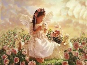 Ängel rosa flicka
