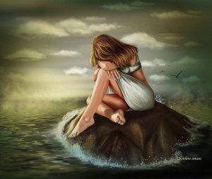 Förtvivlad ung kvinna