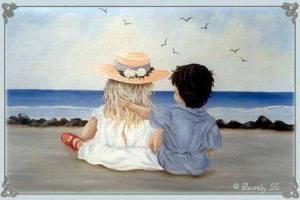 Barn hav måsar utsikt
