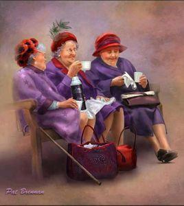 Tre tanter parkbäng glada kaffe