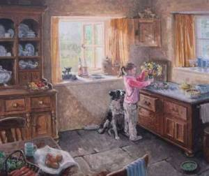 flicka kök hund vintage