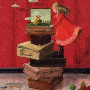 Flicka röd resväskor