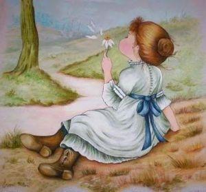 Flicka vit blomma