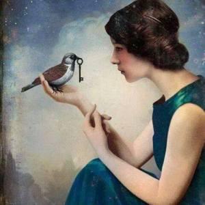 Kvinna fågel nyckel