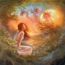 Kvinna i underbart landskap i ljuvliga färger