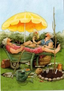 Kvinnor skratt parasoll