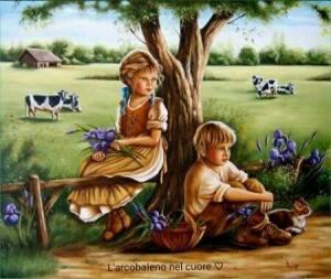 Barn vid träd