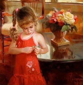 Flicka röd klänning