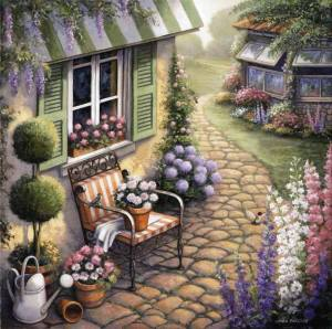 Stol trädgård stenar