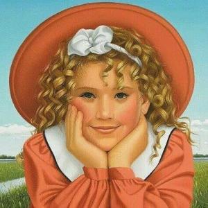 Flicka orange hatt