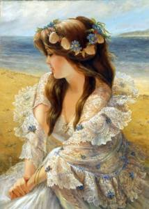 Kvinna krans strand