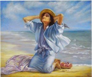 Kvinna ljusblå hav