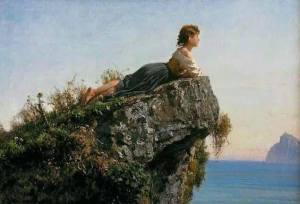 Kvinna udde berg hav