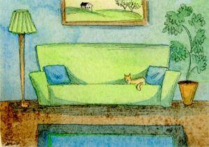 Soffa grön katt