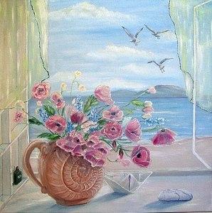 Blommor måsar hav