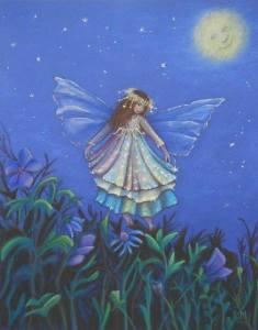 Ängel blått måne