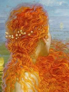 Kvinna hår röd orange
