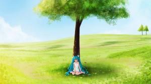 Flicka träd grönt
