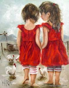 Flickor röda klänningar