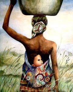 Kvinna barn rygg