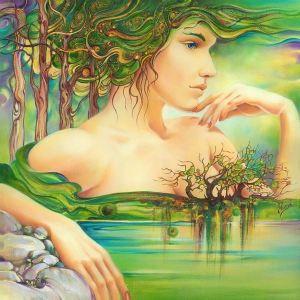 Kvinna grönt hår