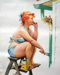 Kvinna målar kul