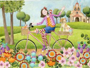 Flicka cykel hund