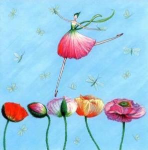 Flicka hopp blommor