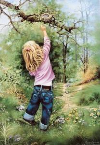 Flicka träd natur