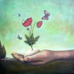 Hand kruka blomma liten