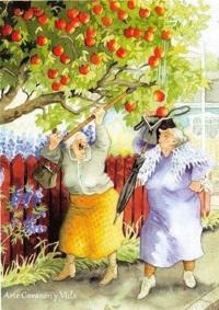 Kvinnor kul träd frukt liten