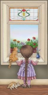 Flicka fönster katt kopia