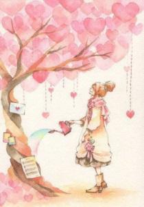 Träd kvinna vattnar kopia