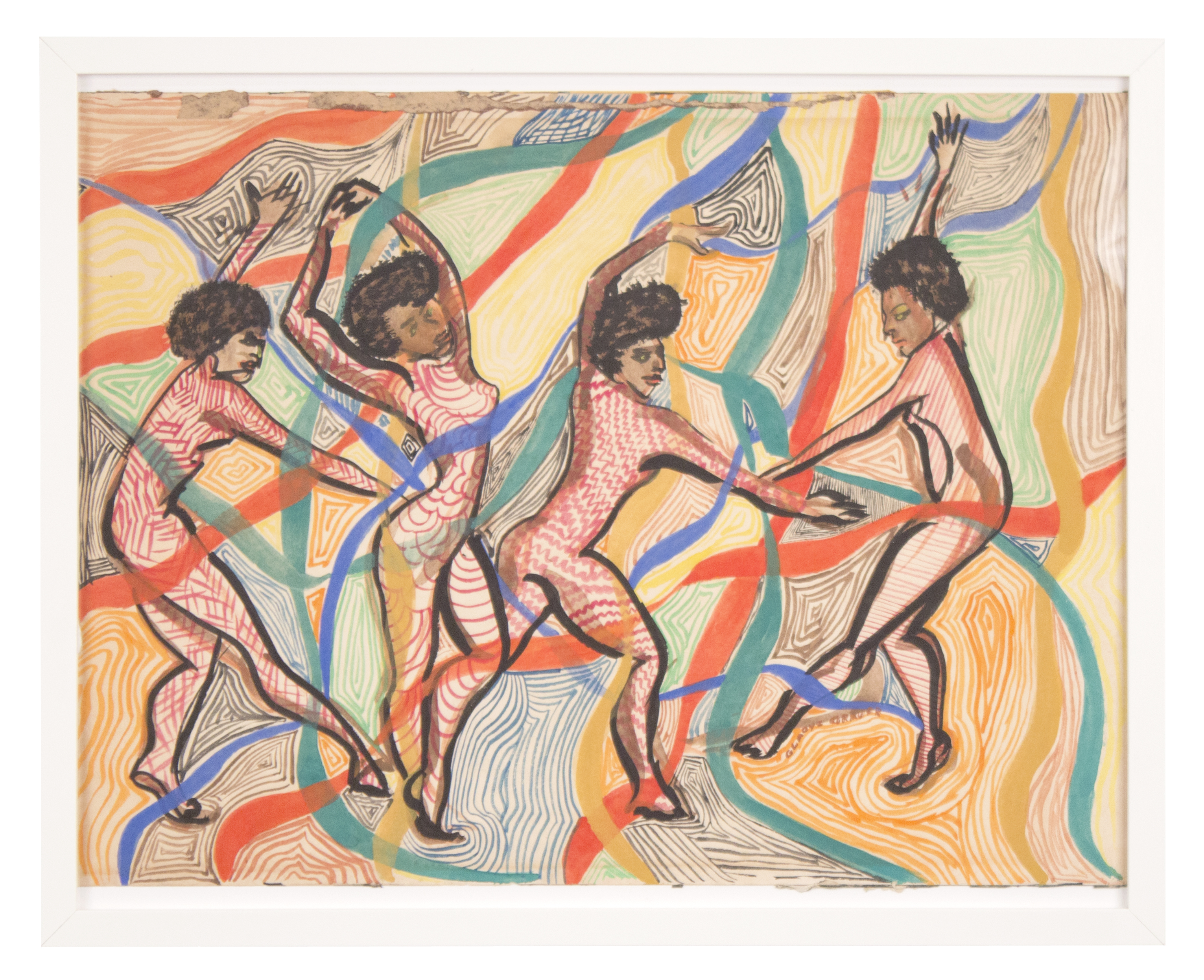 """""""Dance With Me"""" 1985, Gouache 17x21IN"""