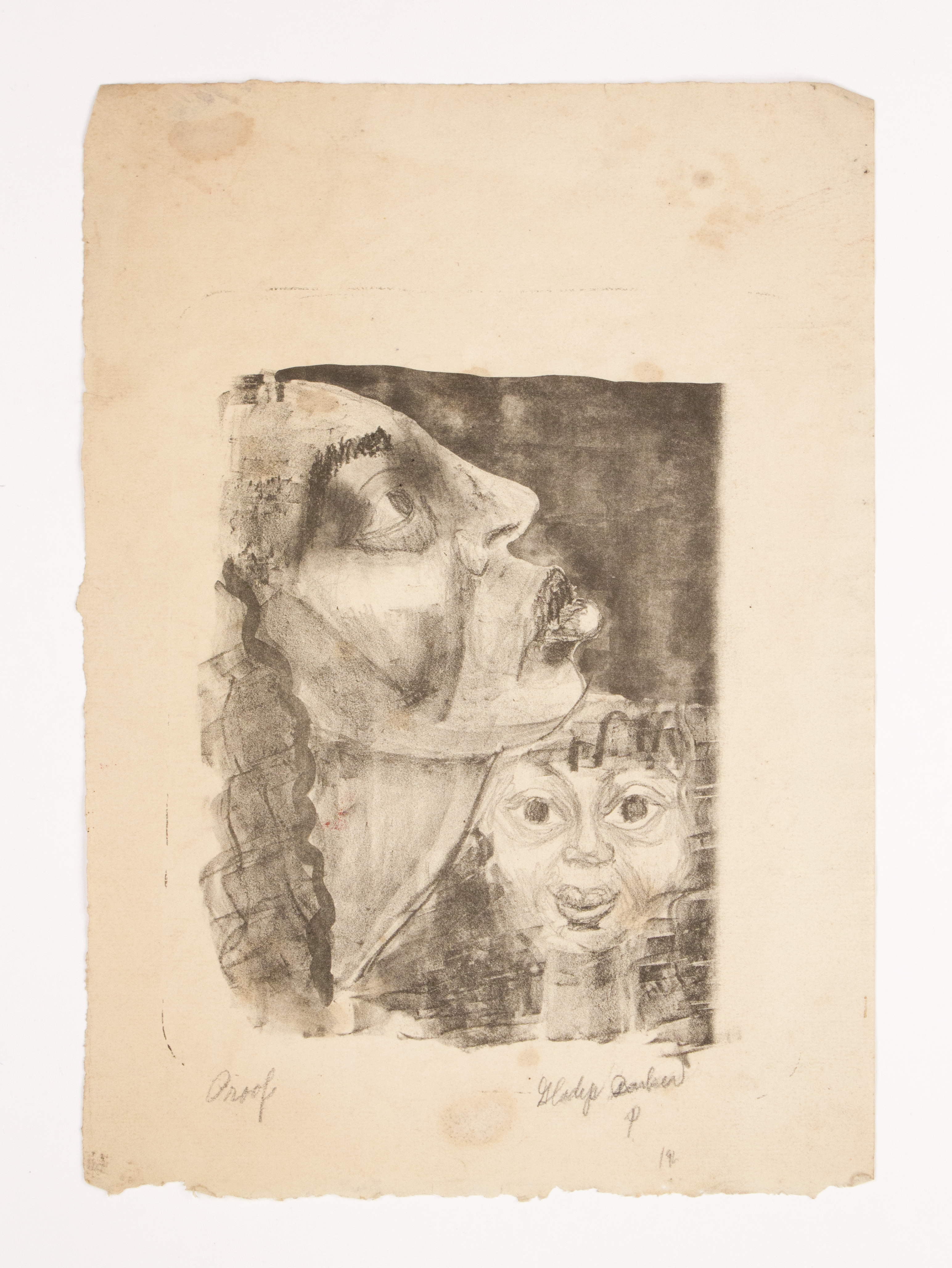 """""""Mother & Child"""" 1942, Lithograph, 20x16IN"""