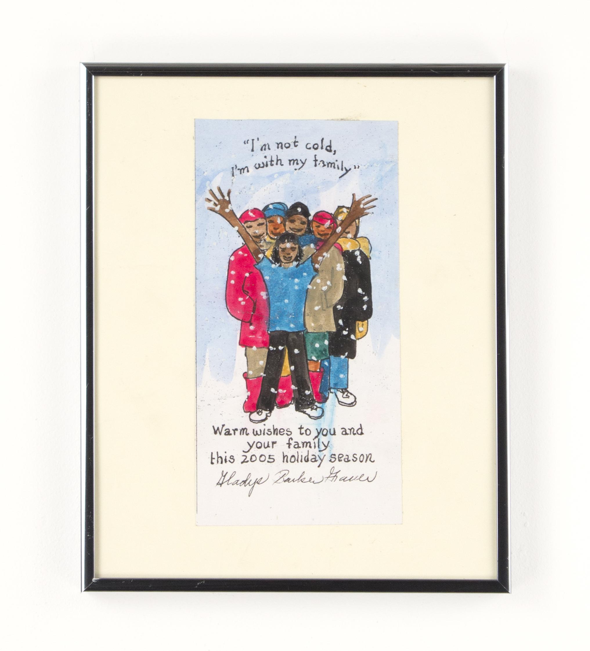 """""""My Family, Christmas Card"""" 2005, Gouache, 9x4IN"""