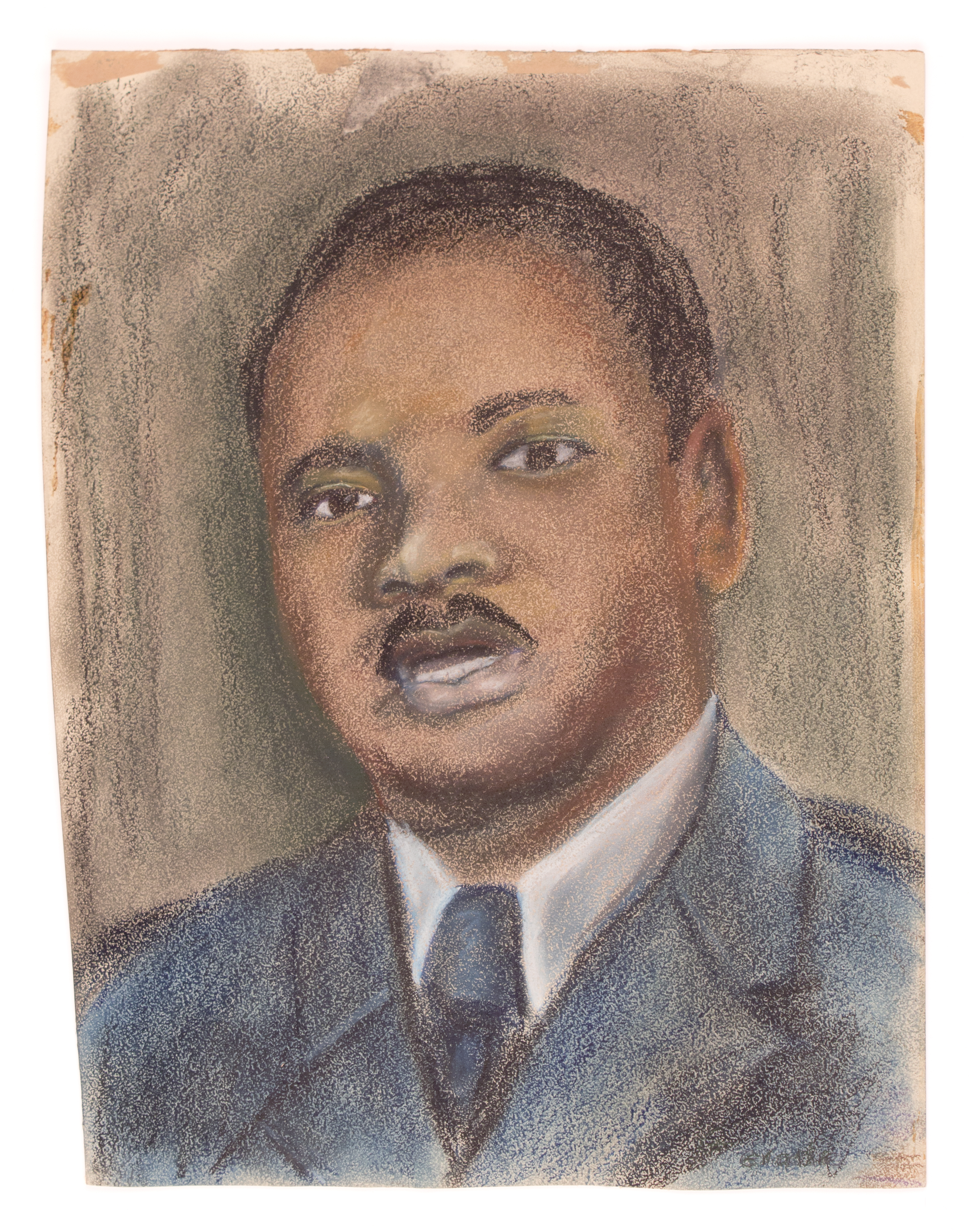 Untitled (Drawing of Martin Luther King Jr.), Pastel, 20x16IN