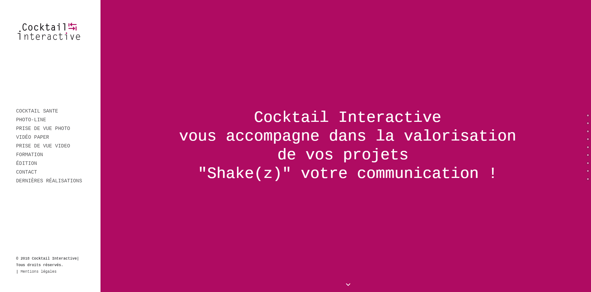 Site de Cocktail Interactive fait par Gladys De Micheli